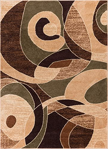 Well Woven Calm Chaos Multi Green Modern Casual Geometric Area Rug 8×10 8×11 7'10″ x 10'6″ Stain Fade Resistant No Shed Contemporary Abstract Funky Fun Boxes Shapes Lines Swirls Living Dining Room