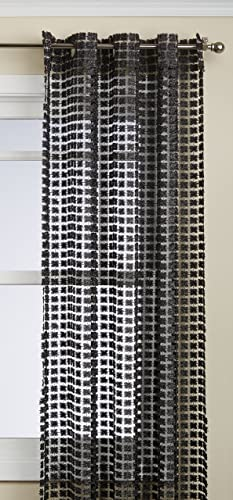 Regal Home Collections Glamour Open Weave Grommet Panel, 54 by 84-Inch, Black