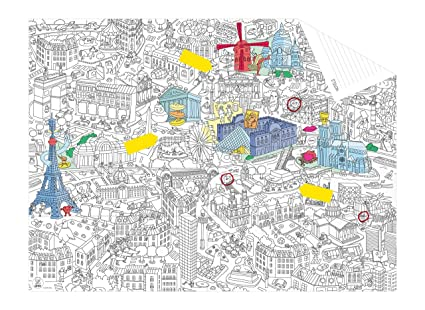 Amazon Com Omy Coloring Pocket Map Paris Hours Of