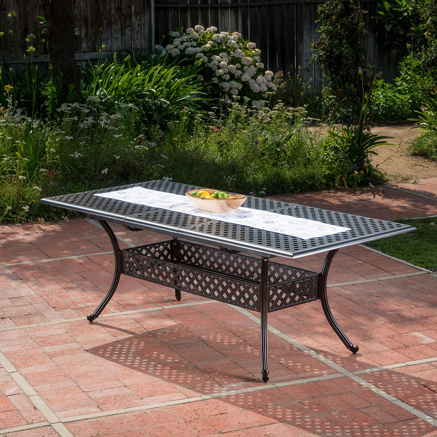 Christopher Knight Home 300674 Ariel Outdoor Patina Copper Finish Expandable Dining Table, Red-4470