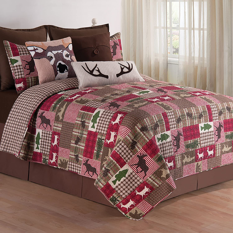 C&F Home Happy Camper Quilt Set, Full/Queen, Brown, 3 Piece