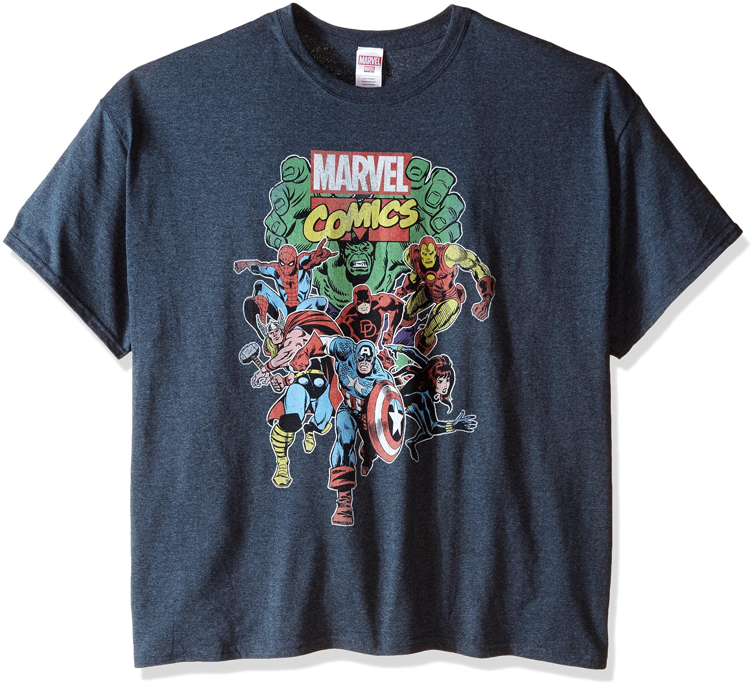 Marvel Men's Big-Tall Comics Vintage Group T-Shirt, Dark Heather, 4X-Large
