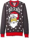 Hybrid Apparel Suéter Feo de Navidad para Hombre, Santa Beerd/Carbón Vegetal, Small