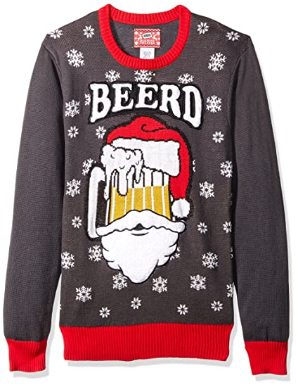 Hybrid Mens Beerd Ugly Christmas Sweater At Amazon Mens Clothing