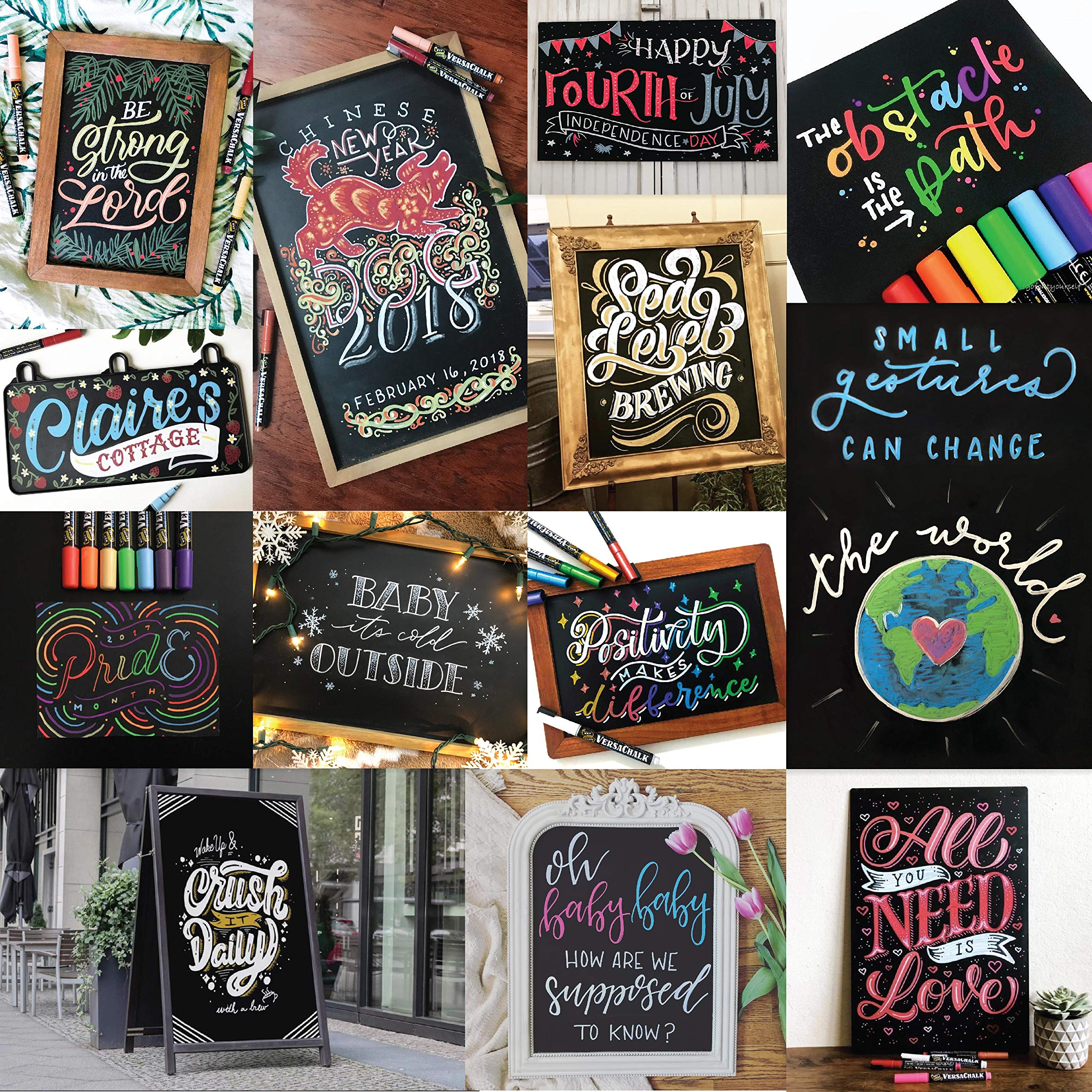 Classic Liquid Chalk Ink Chalkboard Markers by VersaChalk - Wet Erase Chalk Pens for Chalkboard Sign, Blackboard, Dry Erase Board (5mm Bold Reversible Tip) by VersaChalk (Image #9)