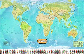 Laminated world map poster wall chart with country flags new laminated world map poster wall chart with country flags new encapsulated 36x24 inches timezones gumiabroncs Images