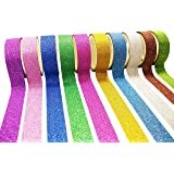 10 Washi Tape Set Colorati Nastri Adesivi Carta Glitter Nastri Adesivi Decorativi Washi Carta per Mascheratura Scrapbooking Artigianati Feste Decorazione
