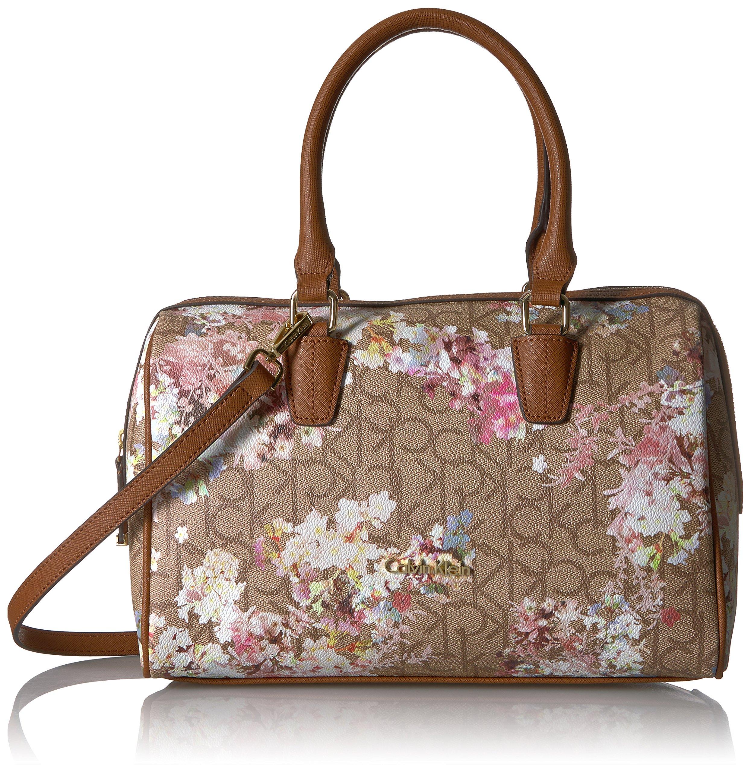 Calvin Klein Key Item Small Monogram Bowling Bag Satchel, Txt Khaki/Brown/Floral by Calvin Klein