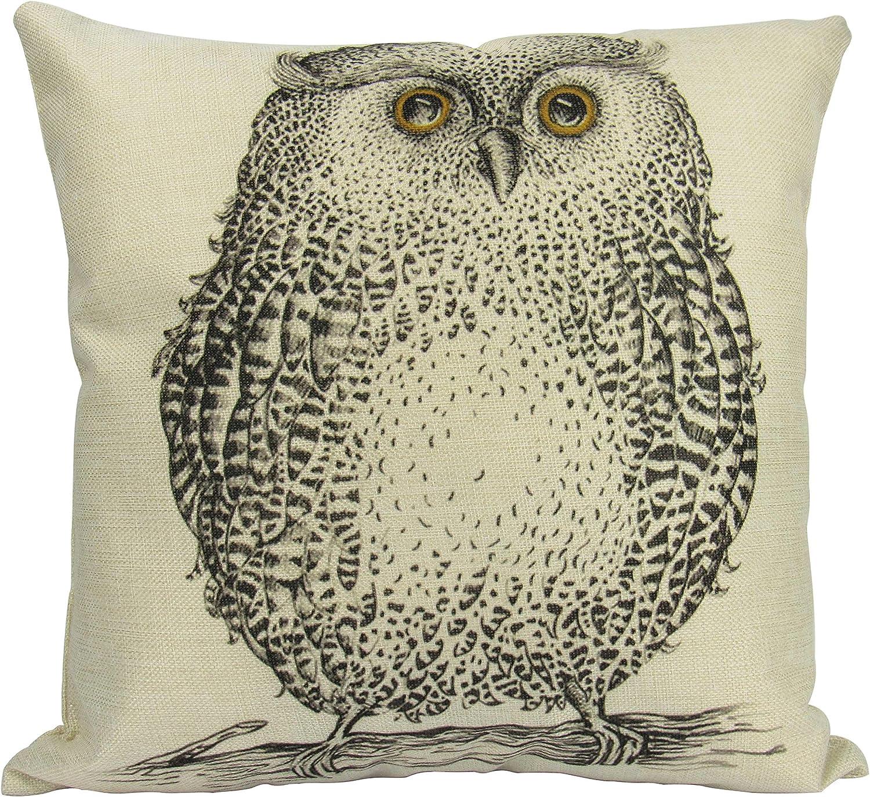Amazon Com Barn Owl Pillow Cover Drawing Of An Owl Throw Pillow Home Decor Wilderness Owl Print Nature Inspired Modern Farmhouse Bird Home Kitchen