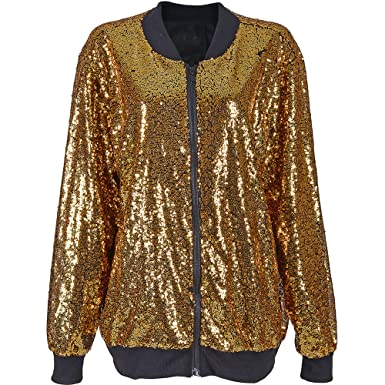 b25a8ce4 Cherry-on-Top Gold Sequin Bomber Jacket: Amazon.co.uk: Clothing