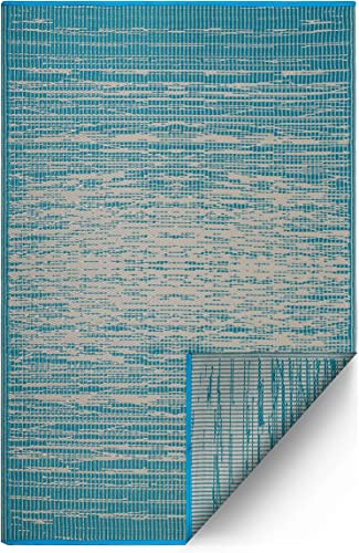 Fab Habitat Reversible Rugs – Indoor or Outdoor Use – Stain Resistant, Easy to Clean Weather Resistant Floor Mats – Brooklyn – Teal 5 x 8