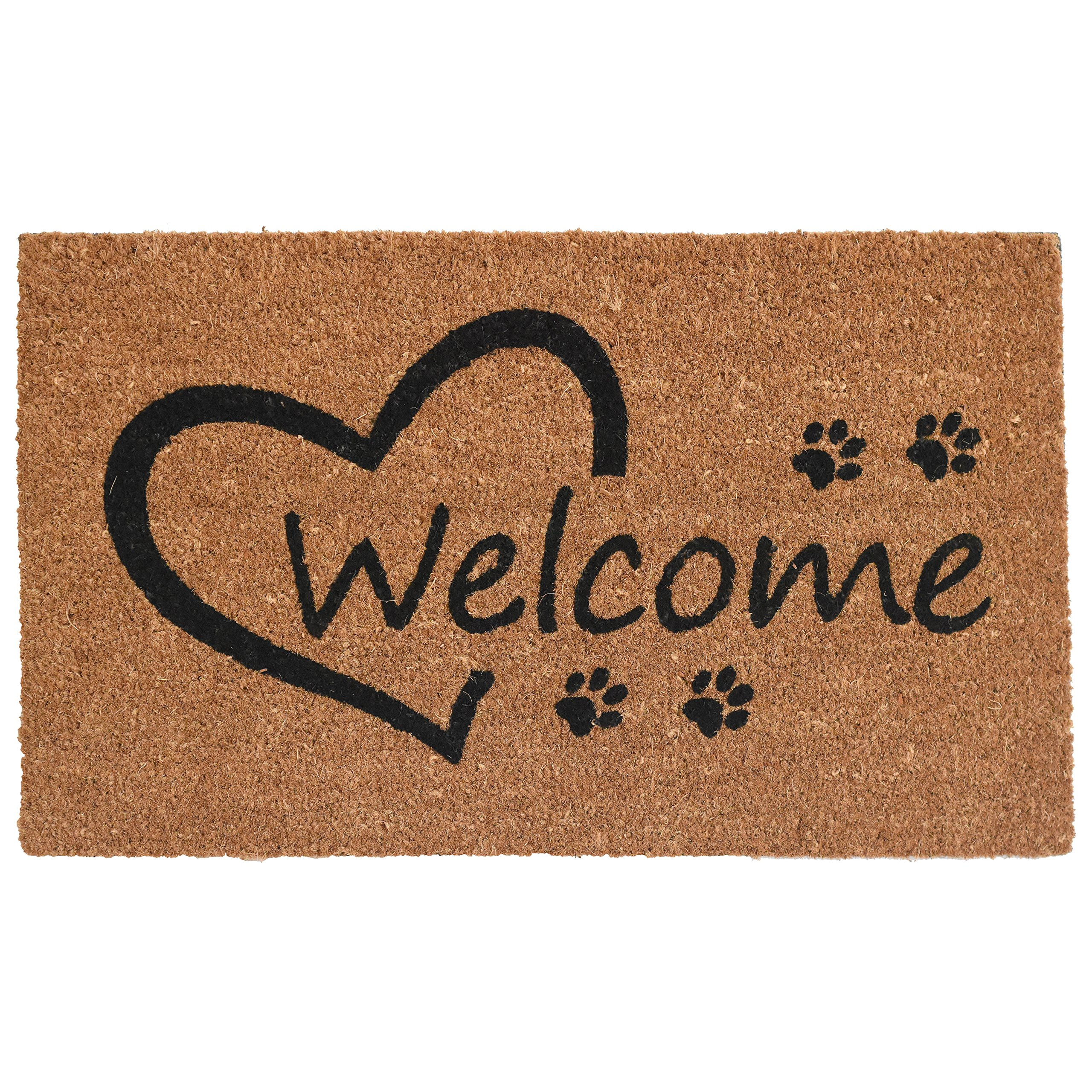 Home & More 103351729 Open Heart Paws Doormat, 17'' x 29'', Natural/Black