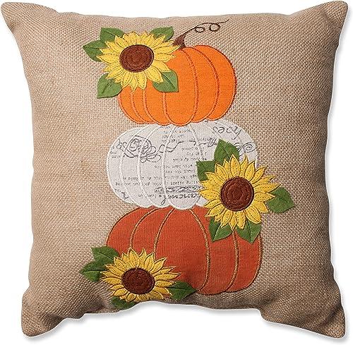 Pillow Perfect Harvest Pumpkins Sunflowers Burlap Throw Pillow, 16.5 x 16.5