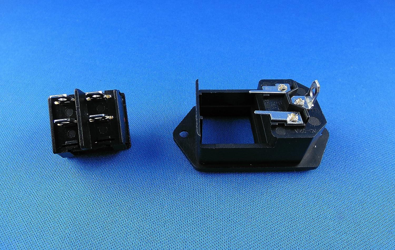 10/A avec diff/érentes raccords/: soudure ou raccord 4,8/mm prise femelle 250/V CA 008 Connecteur encastrable femelle C-14 avec interrupteur femelle /à froid