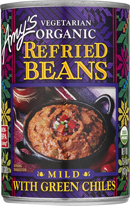 Amy's Beans, Organic Refried Beans with Green Chiles, 15.4 Ounce