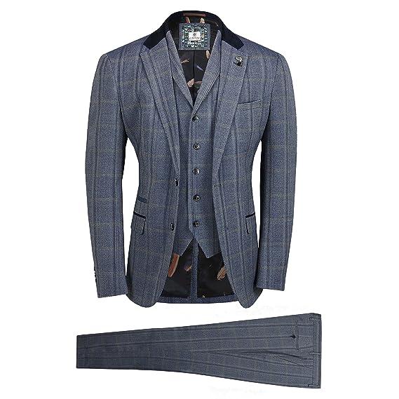 30dfb5dee340 Cavani Mens Tweed Check 3 Piece Suit in Brown Blue Retro Vintage  Herringbone Smart Tailored Fit