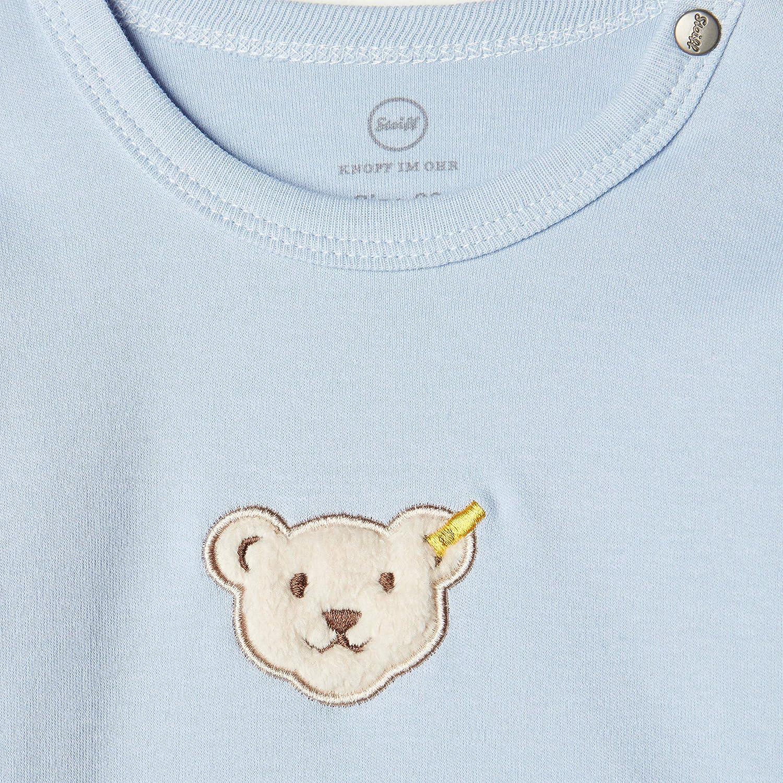 Steiff Baby Jungen T-Shirt langarm mit flauschigem Teddyb/ärmotiv,
