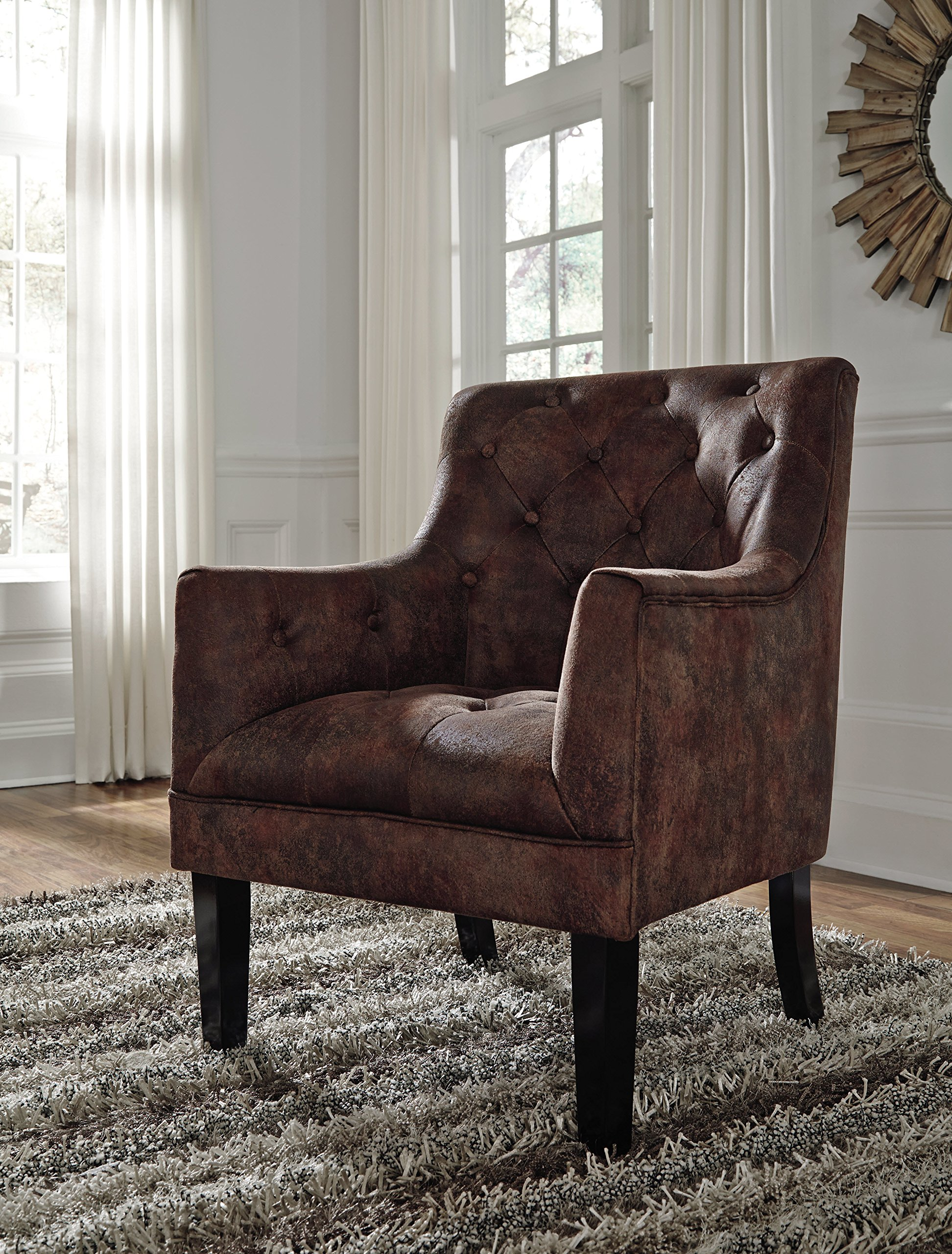 Signature Design by Ashley - Drakelle Accent Chair - Casual - Faux Leather - Brown - Corner-blocked frame Upholstered in a distressed brown faux leather Attached back and seat cushions - living-room-furniture, living-room, accent-chairs - A1EcuV3ENoL -