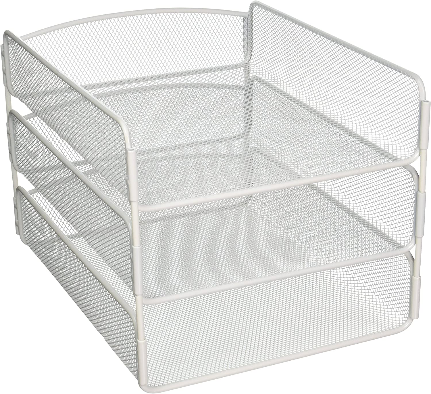 Safco Products Onyx Mesh 3 Tray Desktop Organizer 3271WH, White Powder Coat Finish, Durable Steel Mesh Construction