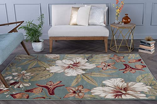 Tracy Transitional Floral Seafoam Rectangle Area Rug, 5 x 7