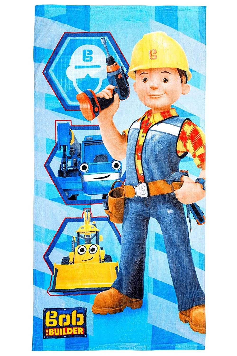 Bob the Builder Beach Towel / Bath Towel, 70 x 140 cm, Original Licensed Product gibra 444782STBOBa