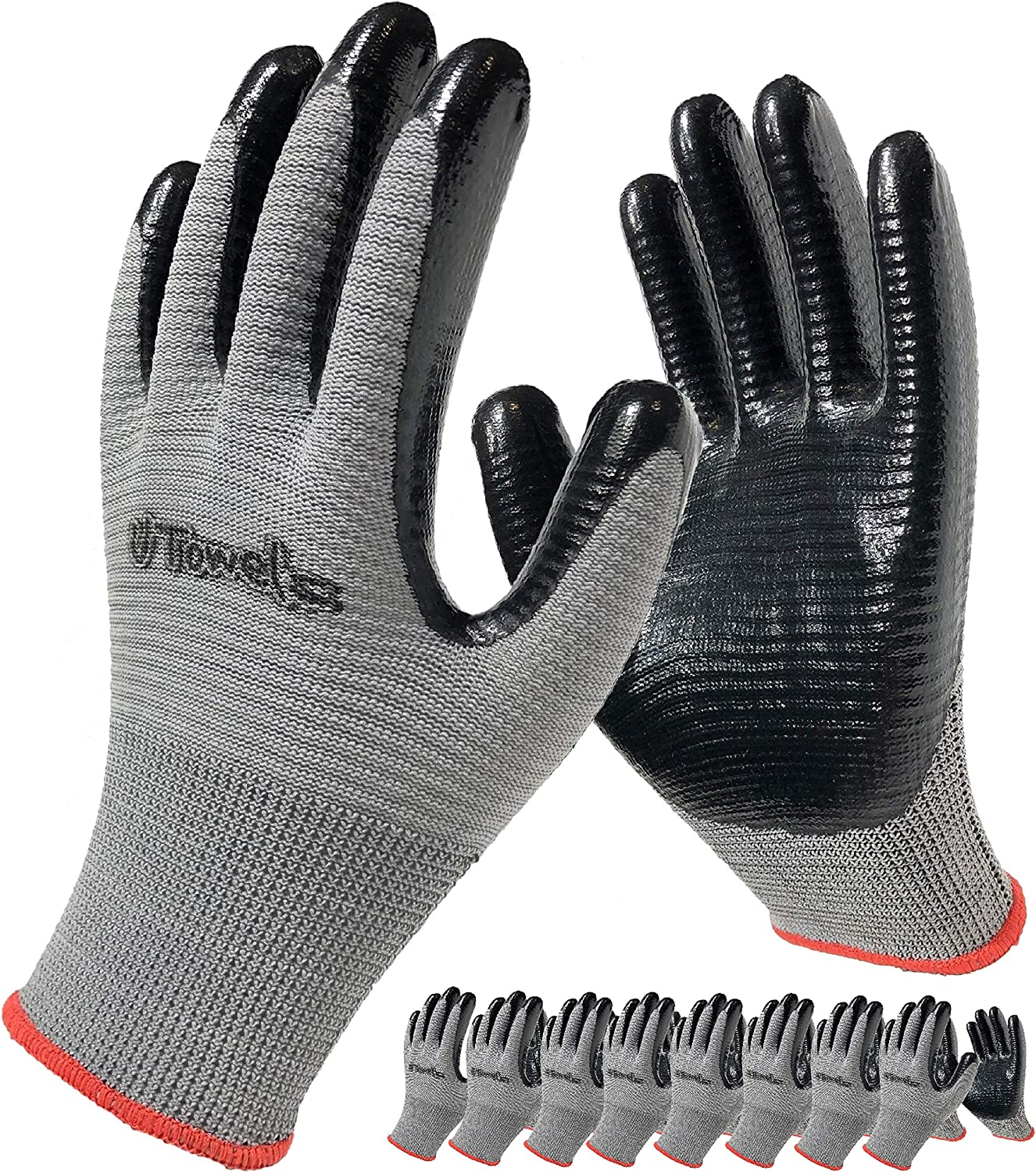 Coated Rubber Work Gloves, 8-Pair Pack, Nitrile Firm Grip Glove for General Purpose, Gardening, for Men and Women (Size Small, Grey)