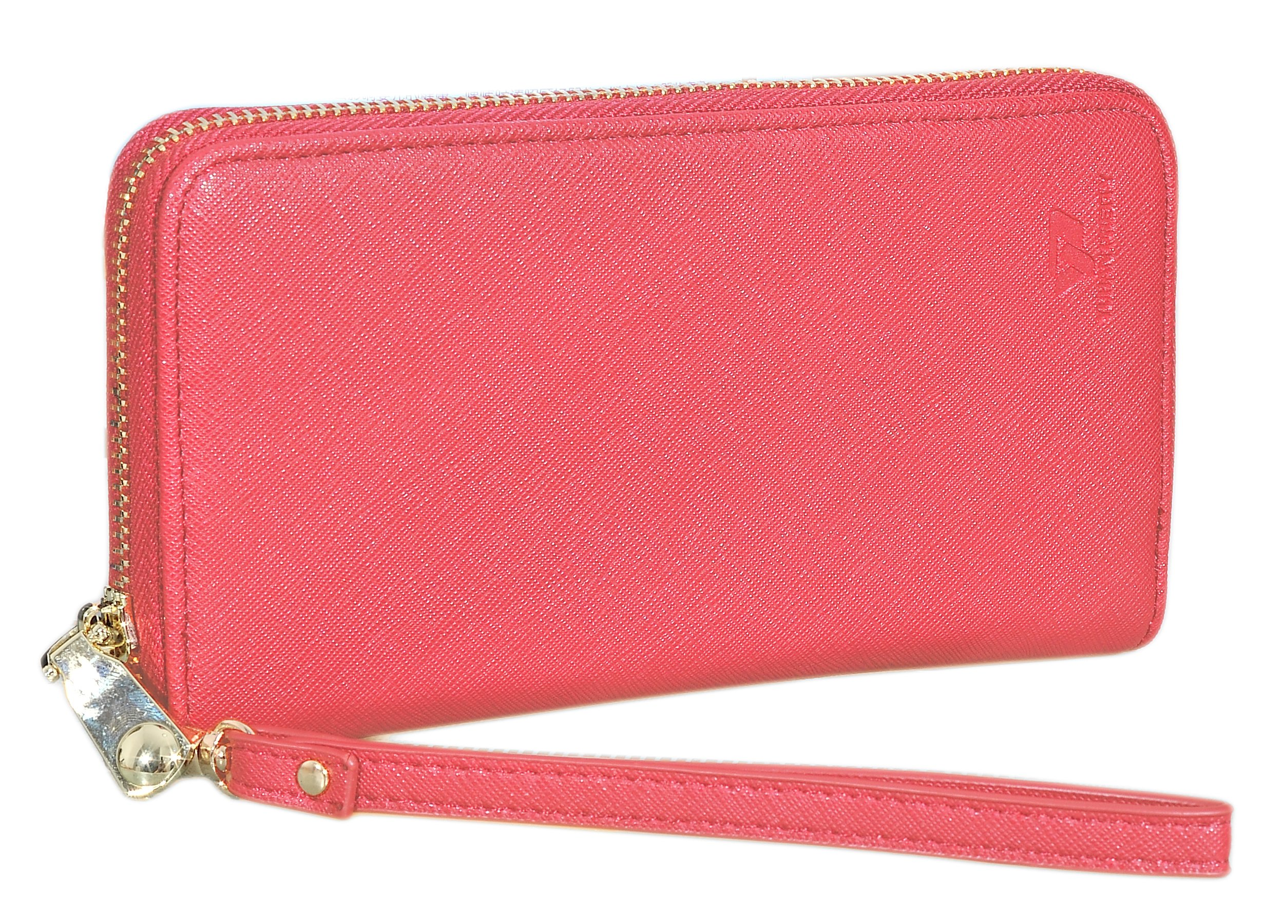 Womens Leather Wallet Clutch Long Zipper Wallets with Wrist Strap Card Holder (Red - New) by Yuhan Pretty (Image #6)