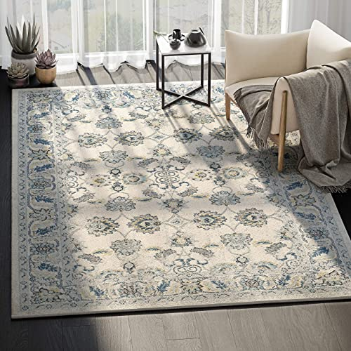 Abani Rugs Large Ivory Blue Stunning Classic Floral Traditional Area Rug Modern Style Accent, Lennox Collection Turkish Made Superior Comfort Construction Stain Shed Resistant, 5 x 7 Feet