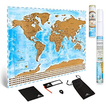 Amazon scratch off world map travel poster us states scratch off world map travel poster us states country flags deluxe personalized tracker gumiabroncs Gallery