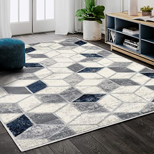 Contemporary Geometric Cube Print Area Rug