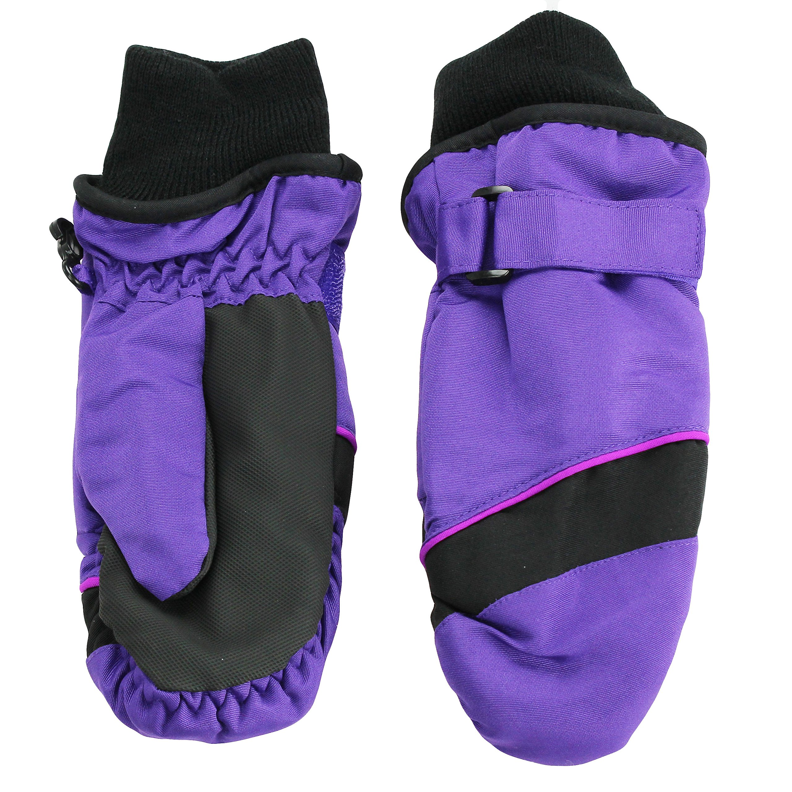 Nolan Girls Thinsulate Waterproof Colorblock Ski Mittens Black Purple Small/Med