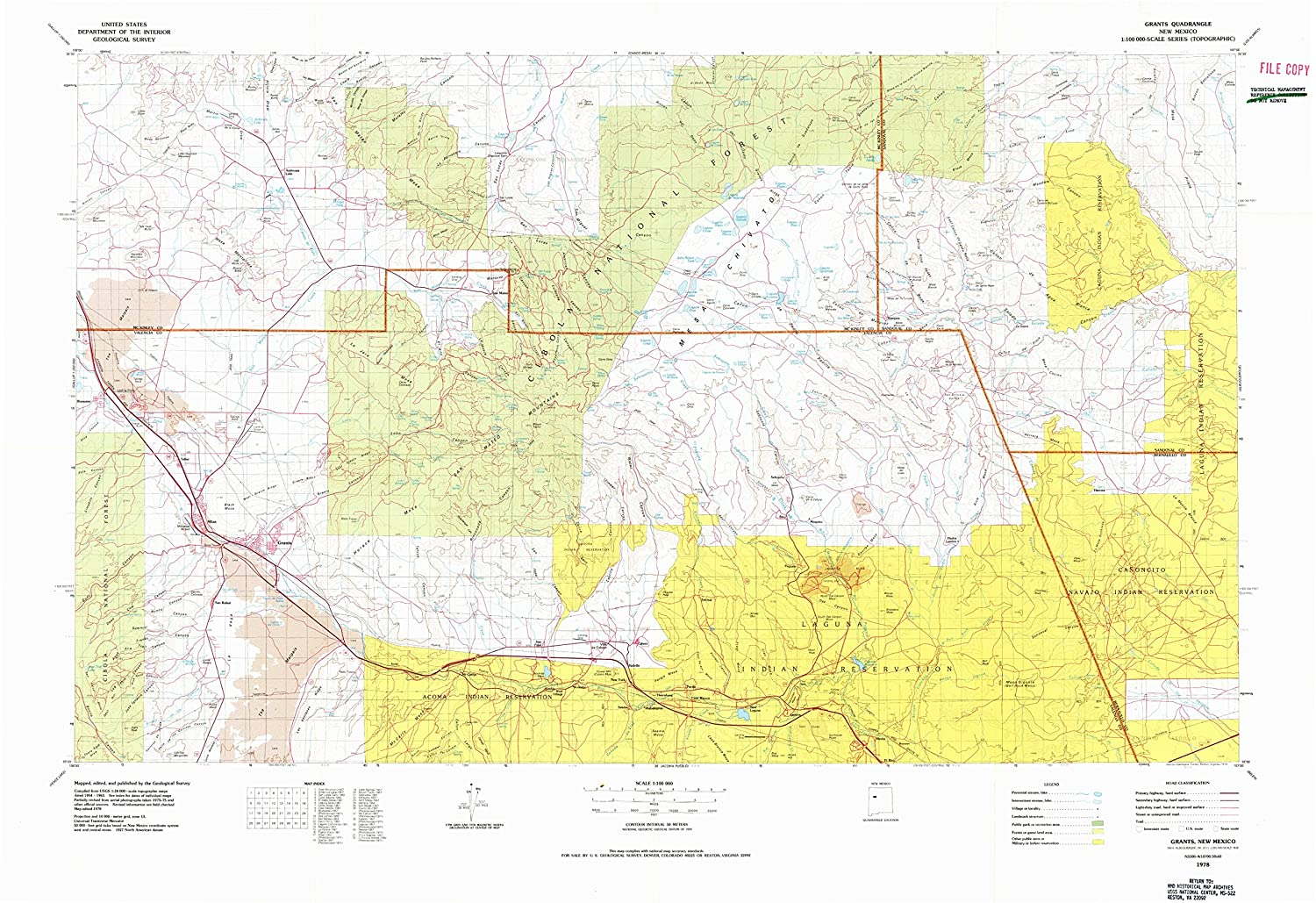 Amazon.com : Grants NM topo map, 1:100000 scale, 30 X 60 Minute, Historical, 1978, updated 1978, 27.9 x 40.6 IN - Paper : Sports & Outdoors