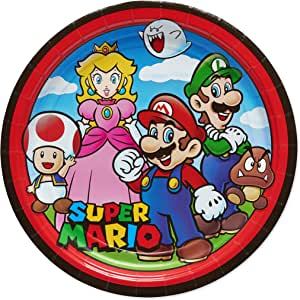 American Greetings Super Mario Brothers Party Supplies, Large Dinner Paper Plates (8-Count)