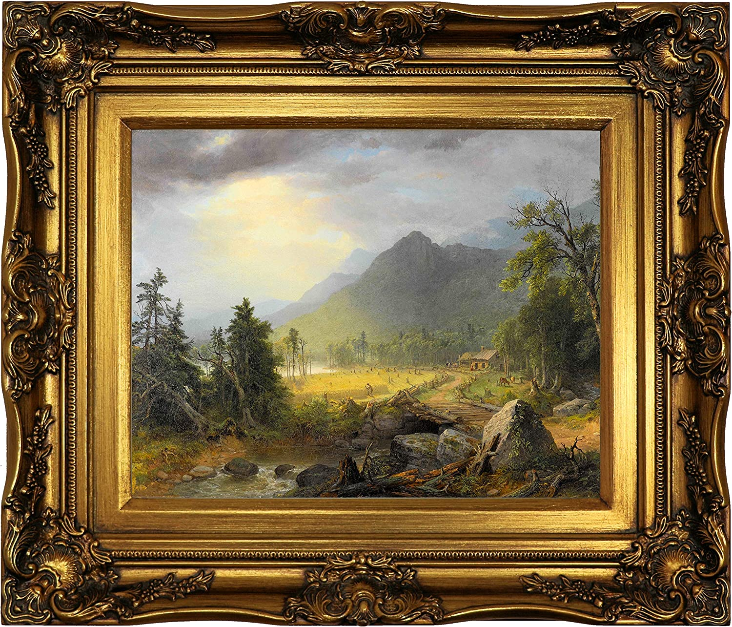 Amazon Com Historic Art Gallery The First Harvest In The Wilderness 1855 By Asher B Durand Framed Canvas Print Size 11x14 Gold Posters Prints
