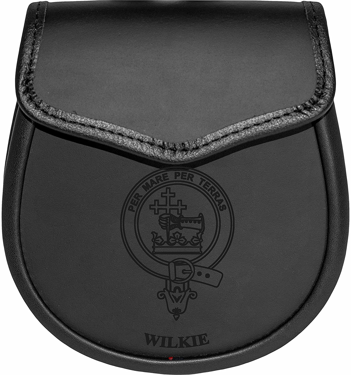 Wilkie Leather Day Sporran Scottish Clan Crest