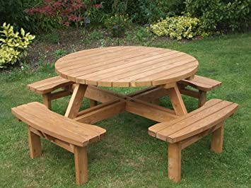 Round picnic table amazon garden outdoors round picnic table watchthetrailerfo