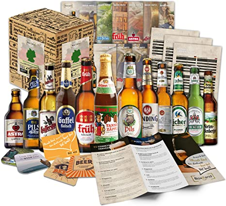 12 Cervezas alemanas en caja de regalo para él, padre, abuelo, amigo, novio, Día del Padre, cumpleaños, Navidad, Pascua, aniversario: Amazon.es: Alimentación y bebidas