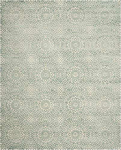 Safavieh Bella Collection BEL915A Ivory and Blue Premium Wool Viscose Area Rug 8 x 10