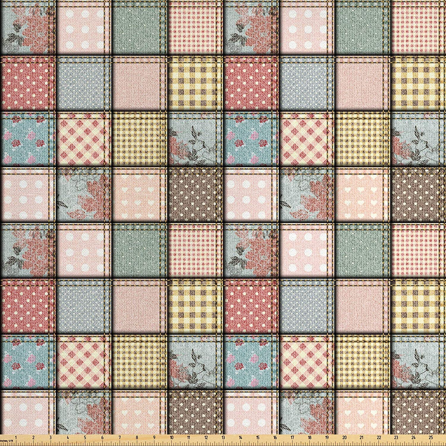 Ambesonne Shabby Flora Fabric by The Yard, Vintage Style Patchwork Design Colorful and Details Vibes, Decorative Fabric for Upholstery and Home Accents, 2 Yards, Seafoam Blush