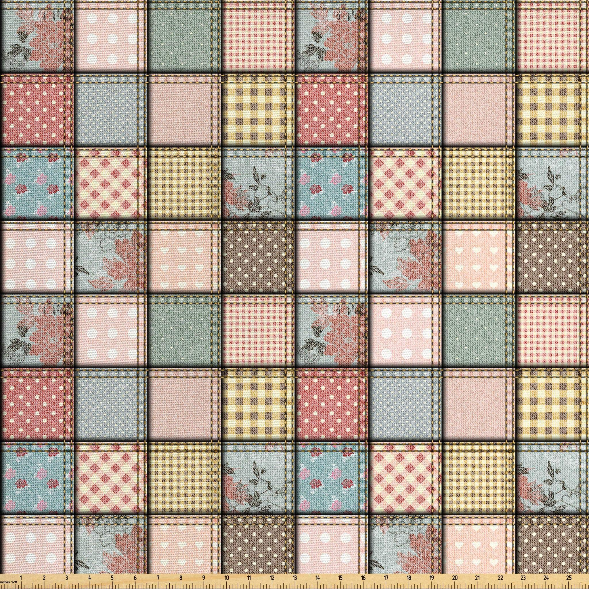 Ambesonne Shabby Chic Fabric By The Yard Patchwork Denim Seem