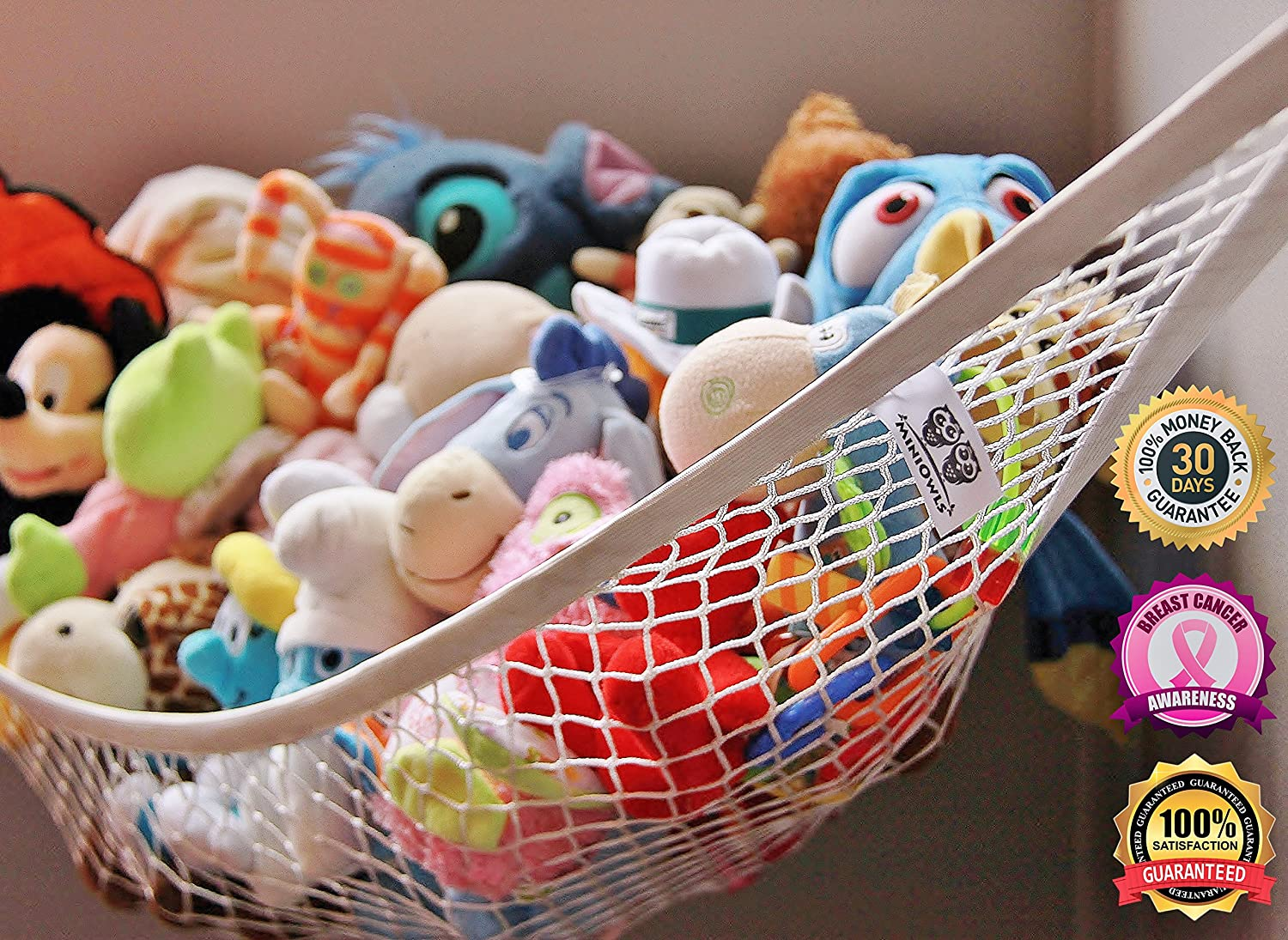 Large Toy Storage Ideas Part - 46: Amazon.com : MiniOwls Toy Storage Hammock Large Organizer White (also Comes  In XL) De-cluttering Solution U0026 Inexpensive Idea For Every Room At Home Or  ...