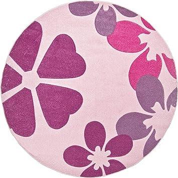 Teppich rund 300 cm  Luxor Living 1100400 Kinder / Webteppich Blumen Konturen Muster ...