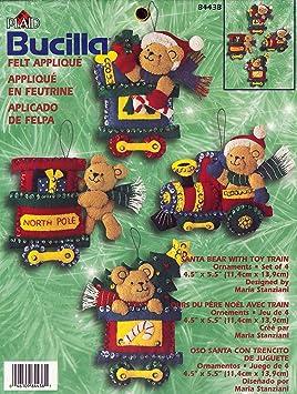 Amazoncom Bucilla Santa Bear With Toy Train Felt
