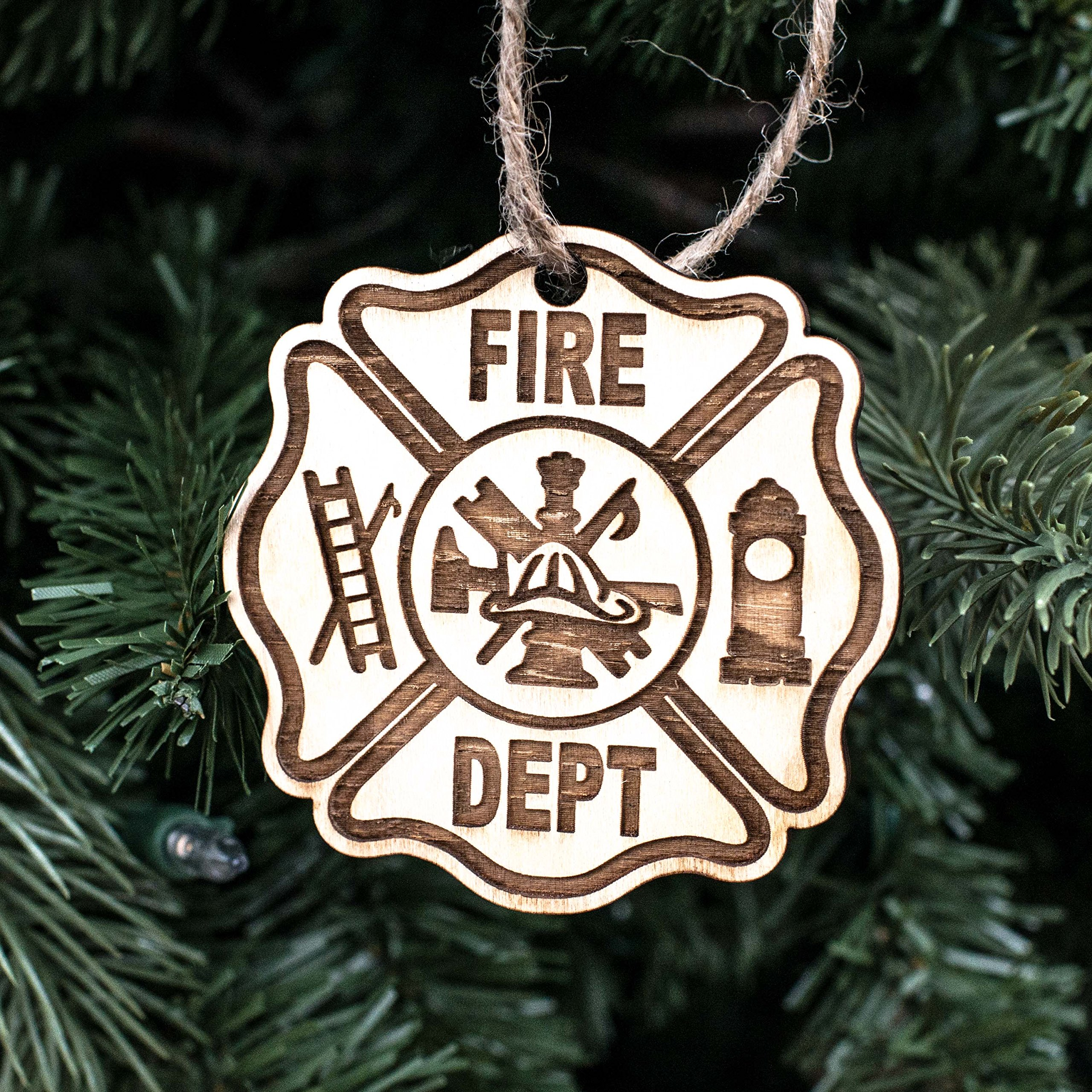 Ornament - Firefighter - Raw Wood 3x3in by Hip Flask Plus (Image #1)