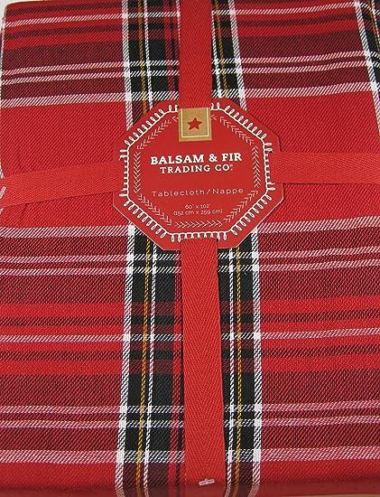 balsam fir christmas plaid fabric tablecloth 100 cotton 60 x 102 red - Christmas Plaid Fabric