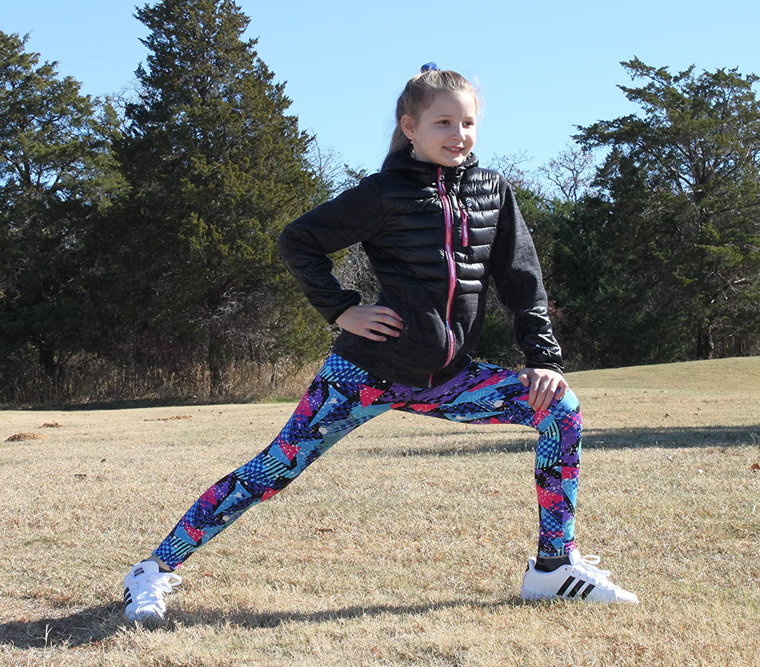 Syleia Girl Leggings High Rise Red/&Blue Triangles and Black