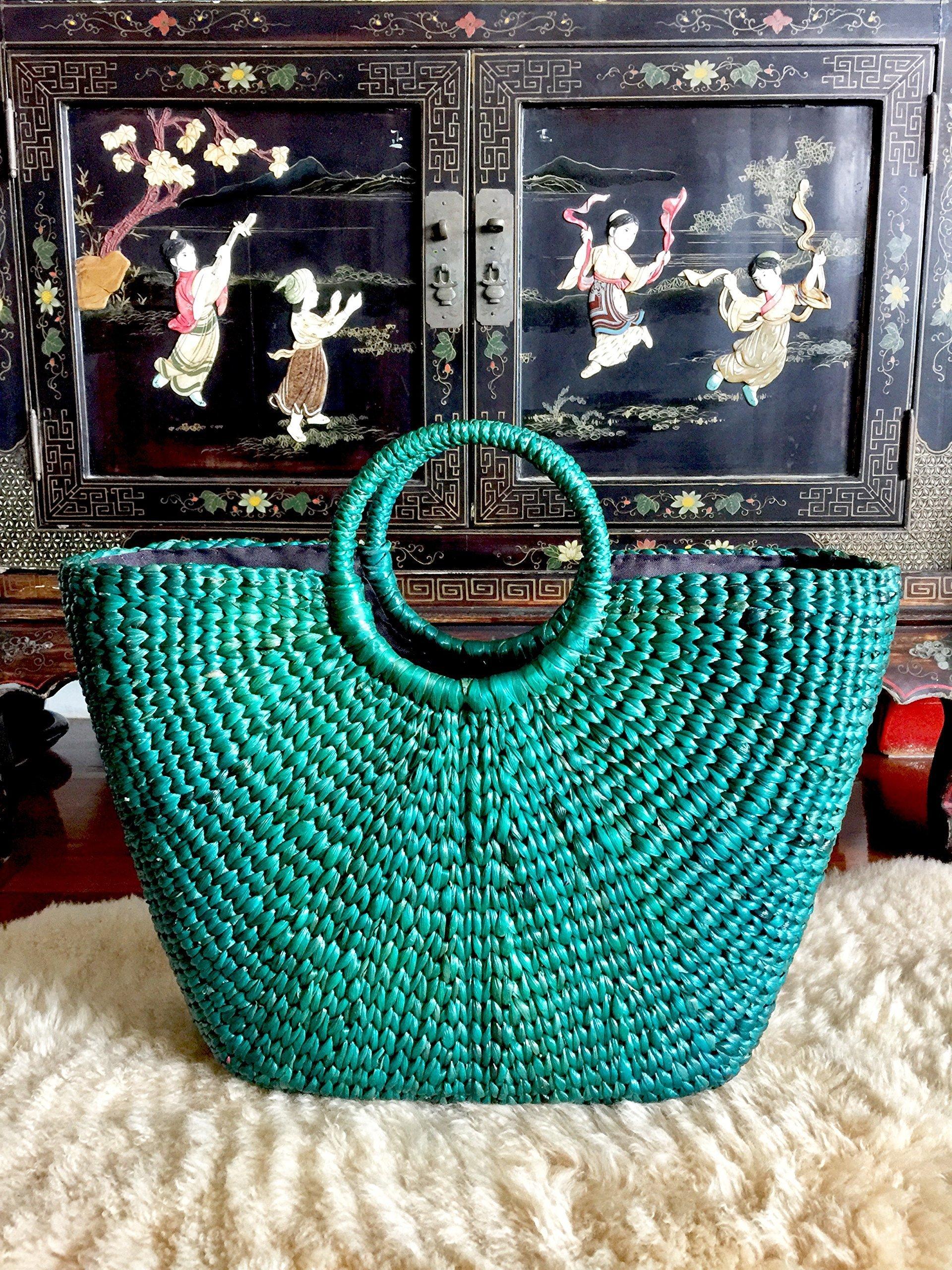 InfinityLoveCo Green Straw Bag,Straw Basket Tote,Straw Basket Bag,Market Basket Bags,Summer Straw Bag,Straw Basket Purse,Straw Tote Beach Bag,Straw Tote