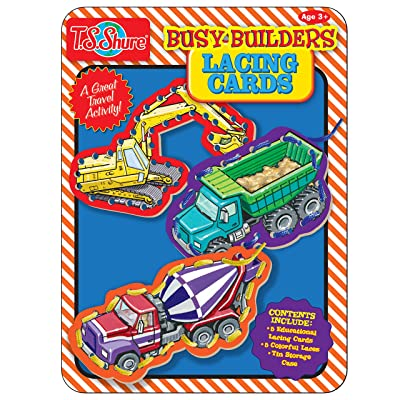 T.S. Shure Busy Builders Lacing Cards Activity Tin: Toys & Games
