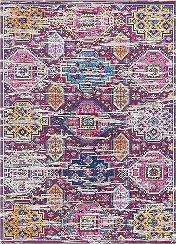 Lucia Multi Purple Yellow Oversized Tribal Panel Short Pile Kilim-Style Modern 5×8 5 3 x 7 3 Area Rug Vintage Oriental Multicolor Pattern