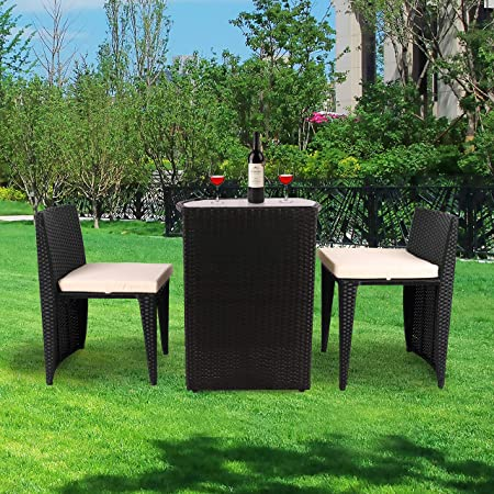 VEIKOU 3 PCS Outdoor Wicker Patio Set, Rattan Convention Bistro Set with Glass Top Table Cushioned Chairs for Garden Yard Porch, Space Saving Design